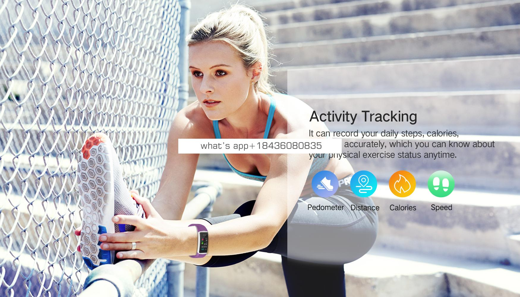 2019 Wholesale Color Screen Smart Bracelet Heart Rate Fitness Tracker Health Bluetooth With Pedometer Blood Pressure Monitor