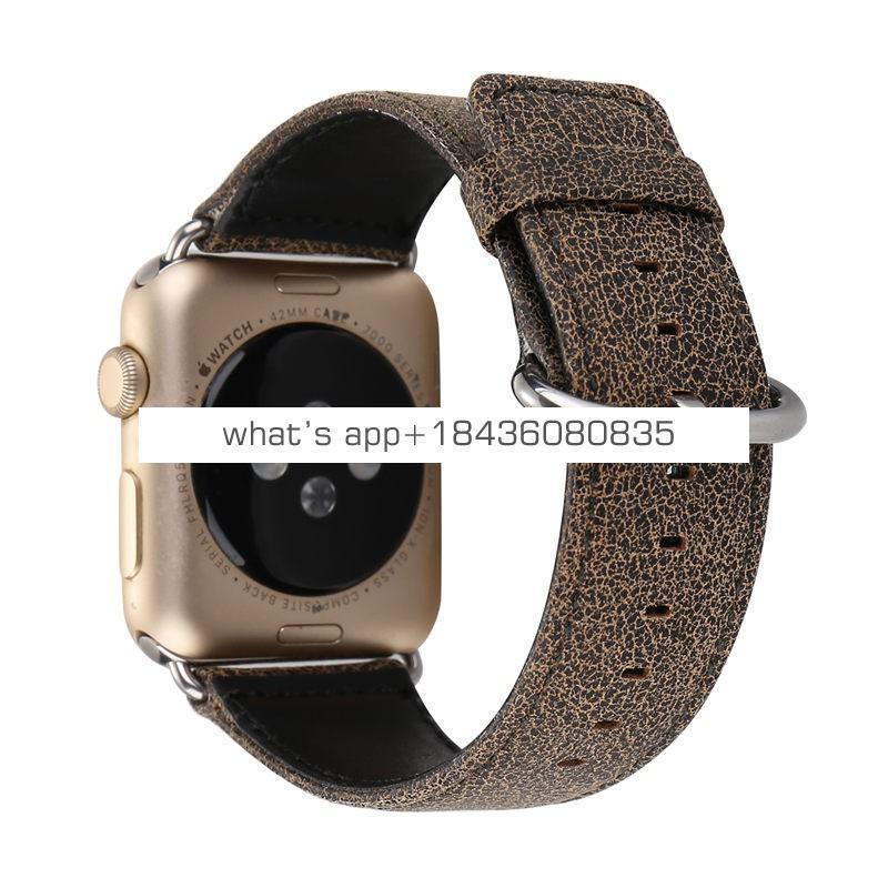 38mm 42mm Original Replacement Strap Leopard Crack Leather Watch Bracelet Wrist Band for Apple iWatch Series 3