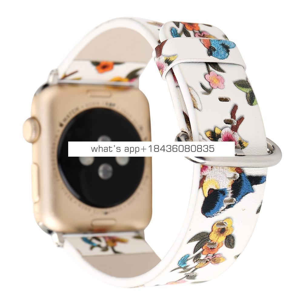 5 Colors Bird and Flowers Pattern Replacement Strap Leather Band for Apple Watch 38mm 42mm with Adapter