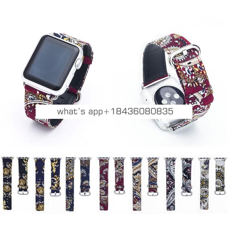 7 Colors Bracelet 38mm 42mm National Style Genuine Leather Strap Wristband for Apple iWatch Series 3