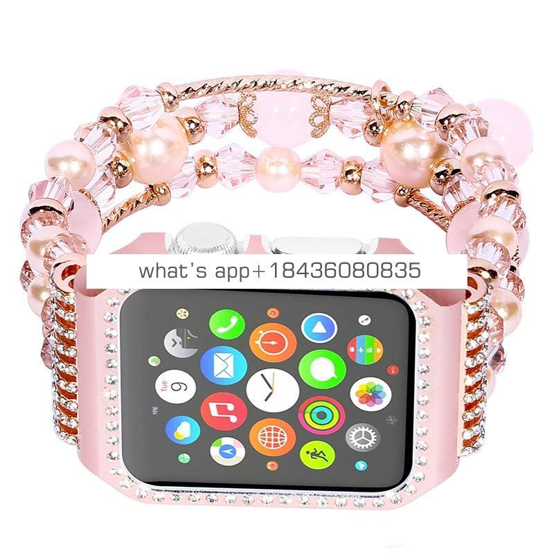 Amazon hot selling jewelry bracelet for Apple Watch 38mm 42mm with frame case rhinestone