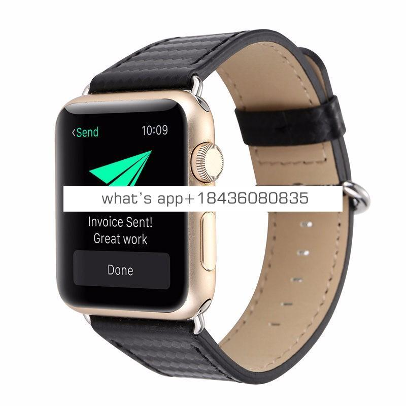Carbon Fiber Leather Strap Band for Apple Watch 3 Adapter