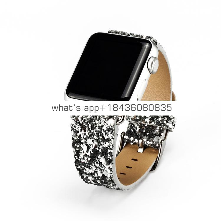 Flash Blingbling Strap Leather Band for Apple Watch Series 3 Sport