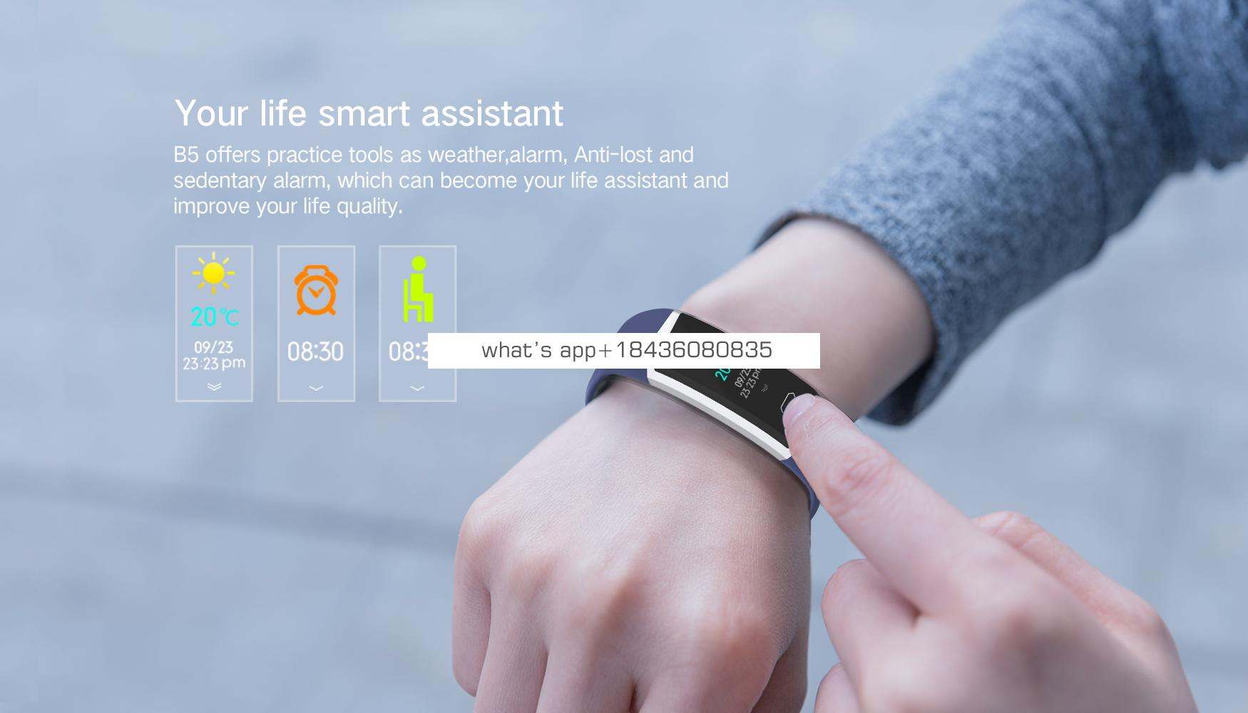 OEM  smart bracelet with dynamic heart rate monitor blood pressure changeable watch face and straps