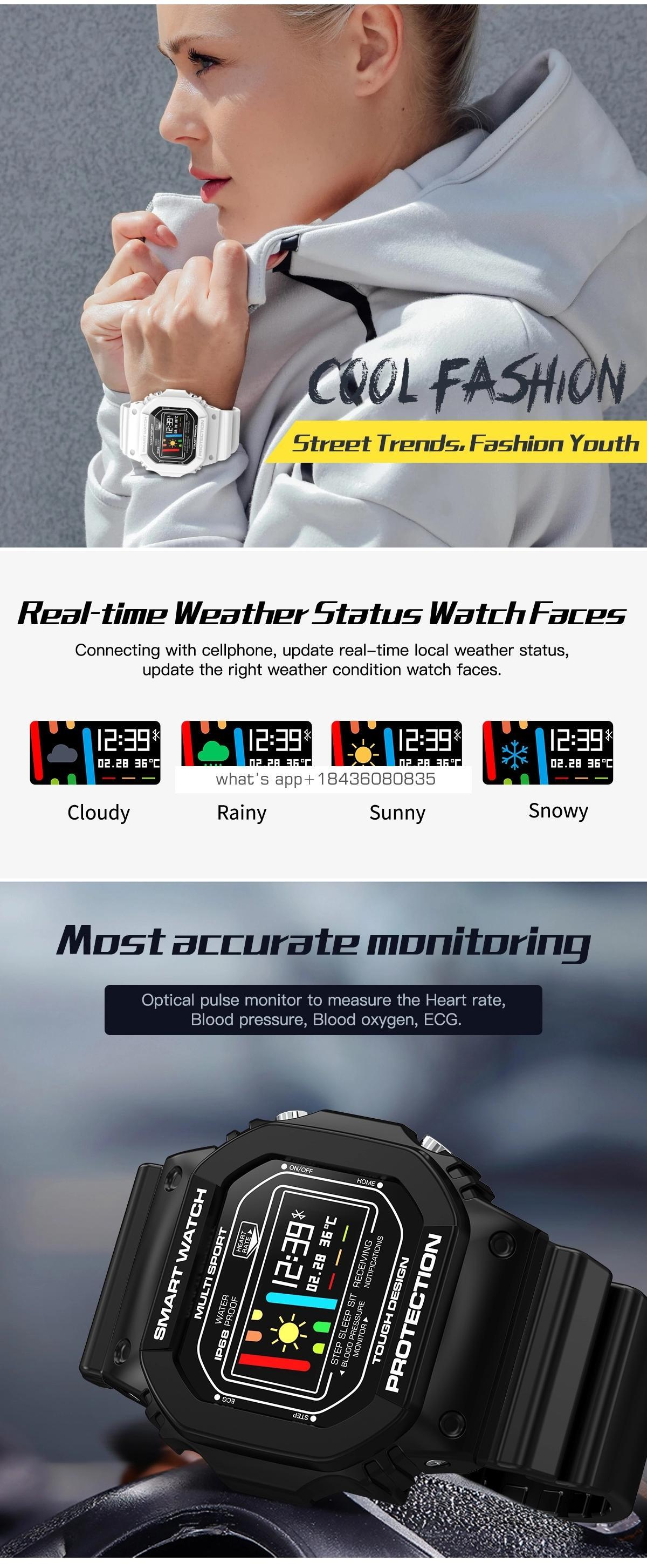 Rundoing X12 Smart Watch OLED Color Screen Fitness Tracker Heart Rate monitor