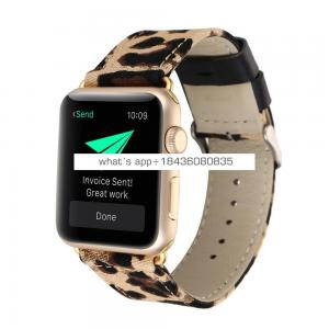 2 Colors Leopard Texture Painting Straps Replacement Leather Band for Apple Watch 38mm 42mm with Adapter