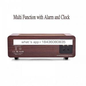 2017 Wooden Wireless Charger Transmitter Qi Alarm Clock Speaker for IPhone 8 plus X