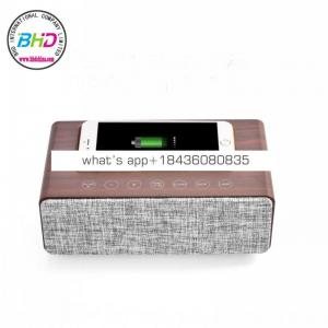 2018 newest model High quality quasi-HI-FI wireless speaker with wireless charger, clock function
