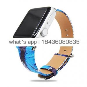38mm 42mm Butterfly Painting Texture Metal Link Bracelet Leather Band for Apple Watch with Adapter