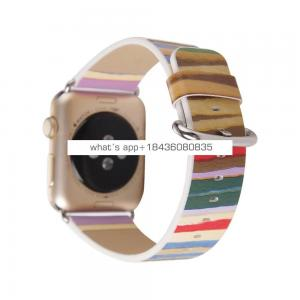 4 Colors Rainbow Colorful Stripes Painting Leather Wrist Band Replacement for Apple Watch 38mm 42mm