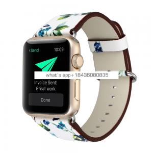 Colorful Flower Leather Strap Buckle for Apple Watch Series 3