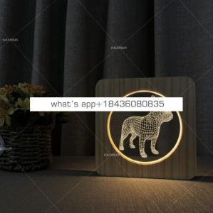 Creative Wooden dog Lamp Bedroom Decoration table lamp