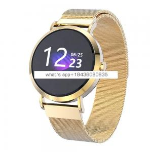 Fashion OEM gold stainless steel band bluetooth big touch screen smart watch health for blood pressure ios android