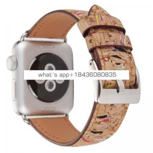 Fashion Wood Pattern Genuine Leather Strap Band for Apple Watch 40mm 44mm