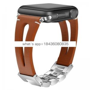 Hybrid Stainless Steel Genuine Leather Band for Apple Watch Series 1 2 3 4