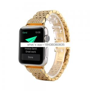 Luxury 7 Links Stainless Steel Diamond Band for Apple Watch Series 1 2 3