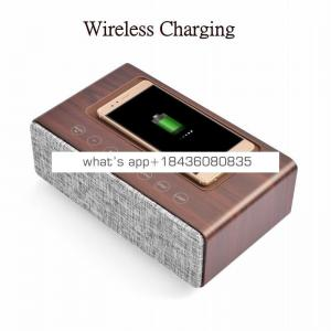 Multi-Function Qi Wireless Charger Wood Wireless Speaker with Time Alarm Clock