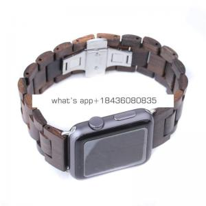 OEM 4 Colors 38mm 42mm for iWatch Replacement Watch Strap Wooden Wrist Band for Apple Watch with Adapter