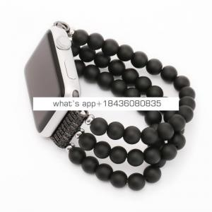 OEM Fantastic 38mm 42mm Replacement Bracelet Black Agate Beads Strap Wrist Band for Apple iWatch Series 3