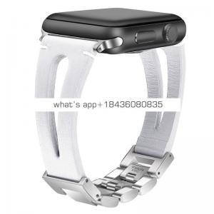 Stainless Steel Real Leather White Band Strap for Apple Watch 38mm 42mm