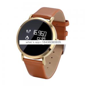 Unisex wrist watch Call Message Reminder Camera Music Control with blood pressure and heart rate smart watch with leather band